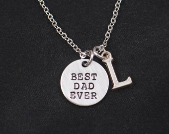 Best Dad Ever necklace, sterling silver filled, personalized initial charm, hand stamped necklace, gift for dad, dad gift, birthday present