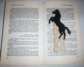 Bookmark old lace pattern black horse
