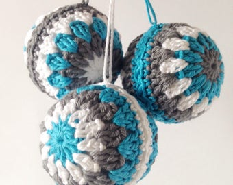 Winter baubles, crochet baubles, Christmas decorations, blue and white baubles, tree ornaments, boho crochet, Christmas tree