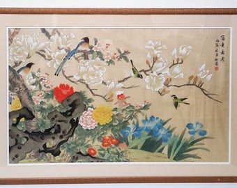 Chinese large vintage watercolor on silk, bird and flower, double matted, wood frame and glass