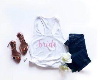 Bride White Tank Top - Bachelorette Party Tank Top - Bride Shirt - Bride Squad Shirt - Wedding - Bridal Party Razor Back Tank