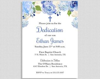 Blue Baby Dedication Invitation, Baby Boy Dedication Invite, Christian Invite, Blue Floral Wreath, DIY PRINTABLE