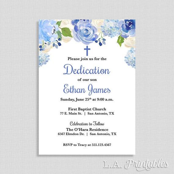 Blue Baby Dedication Invitation Baby Boy Dedication Invite