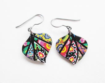 Paper Mosaic Leaf Earrings - Small Leaf Earrings - Upcycled Earrings - Any Color Choice - MADE-TO-ORDER