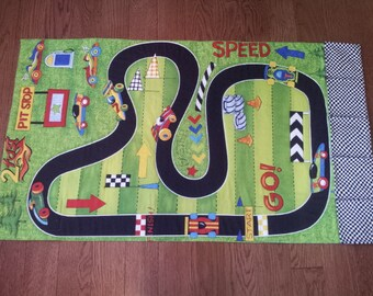 Race Car Track Roll Up Play Mat-Toy Car Pockets-Playmat-Car Play Mat-Race Track-Personalized-Car Mat-Boy Girl Christmas Gift-Quilt-Road