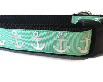 Dog Collar, Foil Anchors Sea Green, 1 inch wide, adjustable, quick release, metal buckle, chain, martingale, hybrid, nylon