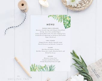 Printable Wedding Menu Printable - Tropical Wedding Menu Download- Ready to Print PDF - Printable Menu - Letter or A4 Size (Item code: P987)