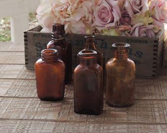 Vintage Brown Glass Bottles Set of 5 Wedding Supplies Medicine Bottles, Instant Home Decor, Hand Dug, Craft Supplies, Collection 1