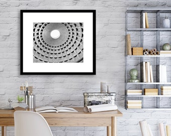 Rome, Pantheon Dome, Black and White, Travel Decor, Italy, Europe, Architecture, Wall Art, Abstract