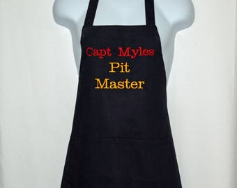 Pit Master Apron, Custom Personalized Gift With Name, For Hubby, Boyfriend, Dad, Husband, Boss, No Shipping Fee, Ships TODAY,  AGFT 1052