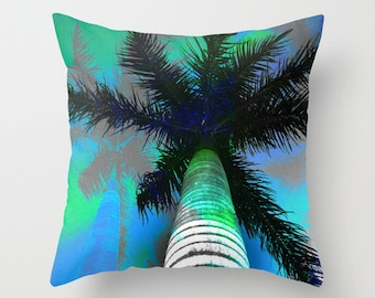 Tropical palm trees throw pillow, posterized island photo print, outdoor patio poolside cushion for summer decorating