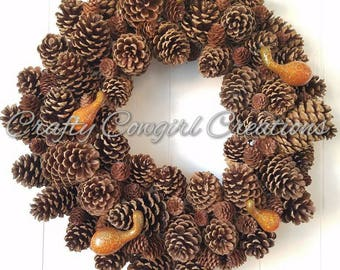Medium Pinecone Fall Harvest Thanksgiving Wreath