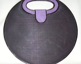 Round Purple & Black Woven Horsehair Handbag Purse! 17 inches Huge!