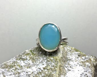 Silver Ring with big Blue Chalcedony  Stone / gemstone ring / natural untreated stone