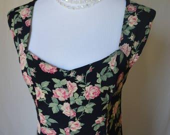 vintage 90's rose floral grunge rayon maxi dress