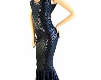 Black Dragon Scale Deep V-Neck Sleeveless Spandex Gown with  Puddle Train  150785