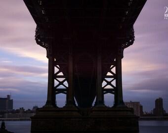 Silhouette picture of the Manhattan Bridge from Dumbo, Silhouette photo of New York, Manhattan, New York City evening, view of Manhattan