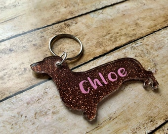Dachshund Keychain - Doxie - Glitter Acrylic Keychain - Customizable With Dogs Name - Dog Keychain