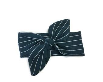 Navy blue baby headband, Striped hair bow, Baby headband, Bow headband, Adjustable headband, Baby girl headband, Baby accessories, Baby bow