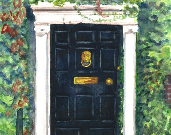 Watercolor Dublin Georgian Door #4 Print 5 x 7