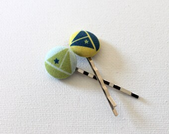 Sailboat Fabric Covered Button Bobby Pin - Light Green and Navy