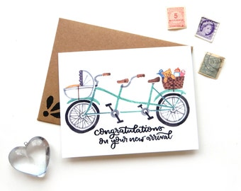 New Baby Tandem Bicycle Card | Original Calligraphy Brush Lettering Mint New Arrival  Double Bike Watercolor A2 Card