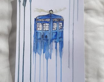 Tardis badly drawn// Tardis// Dr. Who// Whovian// UK// Police Box// Fandom// OliSkyless// Painting// Art// Handmade// Selfmade