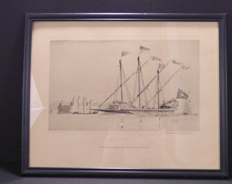 1938 Venetian Galley: Trader and Crusader, etching by Norman Wilkinson