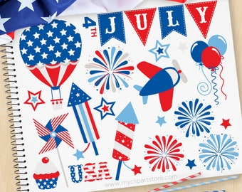 4th of July,  Independence Day Clipart, Star Spangled, Hot air balloon, Airplane fireworks, Commercial Use, Vector clip art, SVG Files