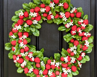 Strawberry Wreath, Farmhouse Wreath, Country Wreath, Primitive Wreath, Spring Wreath, Summer Wreath, Front Door Wreath