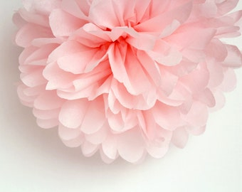 Light Pink Tissue Paper Pom Poms- Wedding, Birthday, Bridal Shower, Baby Shower, Party Decorations, Garden Party