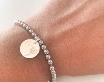 Completely silver bracelet pendant 925 with dandelion silver