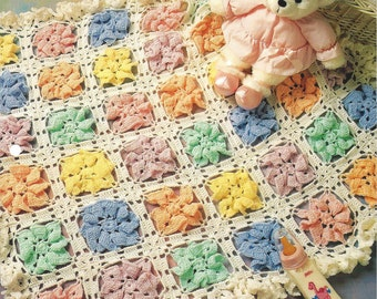 Pastel Pinwheels - Annie's Crochet Quilt & Afghan - Pattern Crochet Baby Quilt Blanket Afghan, Nursery Decor, Baby Pinwheels, Crib Bedding