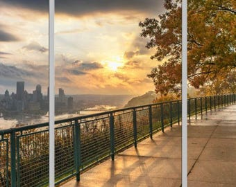 A fall morning on the West End Overlook - Pittsburgh Triptych - Various formats