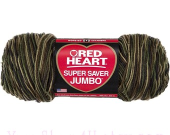 JUMBO 10oz CAMOUFLAGE, Red Heart Super Saver Jumbo, Brown Camo yarn, acrylic yarn, worsted weight, Medium, military, Camouflage yarn <