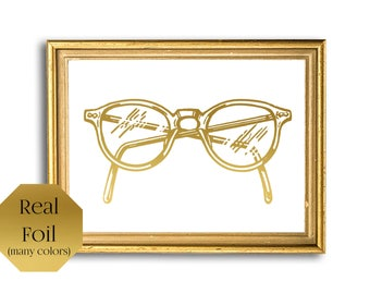 Eye Glasses Frames, Gold Foil Print, Eyeglasses Wall Art, Nerd Art, Hipster Glasses
