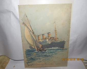 1930's Hamburg Amerika Steamship Line Pamphlet Cover ONLY
