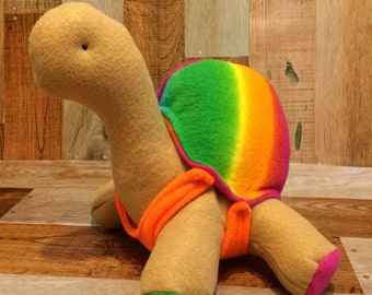 Stuffed turtle plush, rainbow print, turtle gift