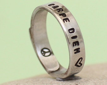 Carpe Diem Ring -Adjustable Aluminum Wrap Ring- Hand Stamped Ring- Personalized Silver Ring
