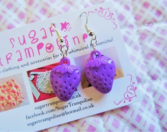 Purple Strawberry Kawaii Earrings