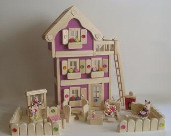 Jouet en bois maison, mobilier de maison de poupée jouet en bois naturel, poupée Waldorf jouet à la main, les enfants cadeau d'anniversaire, jouets en bois Jacobs «Fleur MAGENTA»