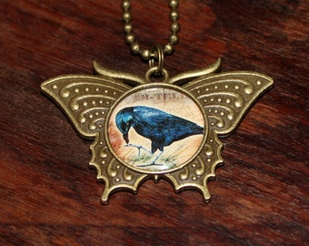 Crow Necklace, Bird Jewelry, Raven, Victorian Goth, Gothic, Halloween, Bronze Butterfly Pendant