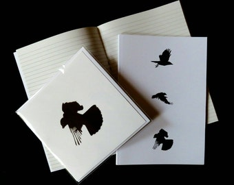 Crow card and notebook gift set, crow card, crow print, writing paper, crow stationery, crow gift, student gift, writer gift, gothic gift,
