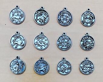 Zodiac Charms Set of 12 Jewelry Silver: Aries, Taurus, Gemini, Cancer, Leo, Virgo, Libra, Scorpio, Saggitarius, Capricorn, Aquarius, Pisces