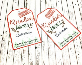 """Christmas Tag """"Reindeer Airlines Expedition"""" 10 PCs"""