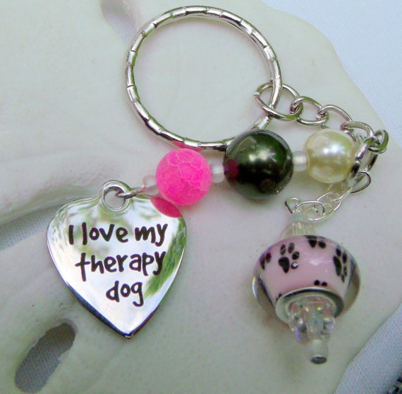 Therapy dog charm key chains - silver heart - pawprint beads - colorful design - charm awareness - wristlet  - laser print - Lizporiginals