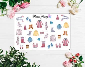 Winter clothing stickers for Erin Condren, Happy Planner, Filofax, Scrapbooking etc