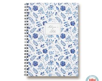 Custom Notebook Blue Flowers Delft  Bullet Journal Notebook Planner Sketchbook Spiral Notebook Schrift Recipe Book   1N