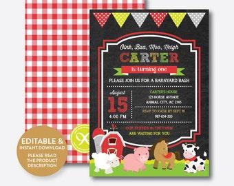 Instant Download, Editable Farm Friends Birthday Invitation, Red Barnyard Invitation, Farm Animal Party Invitation, Chalkboard (CKB.55B)