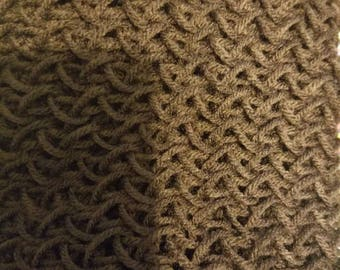 Chocolate Brown hand knitted scarf